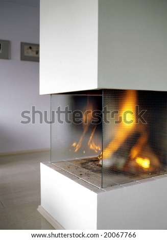 open fire place in living room - stock photo