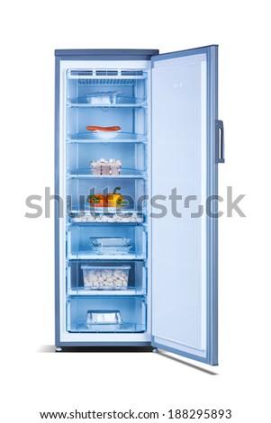 open freezer with food - stock photo