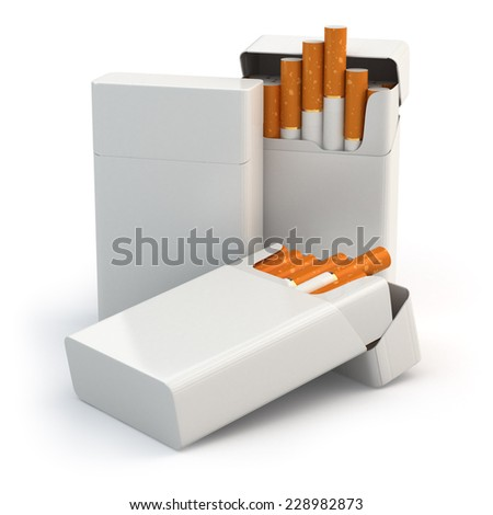 Open full packs of cigarettes isolated on white background. 3d - stock photo