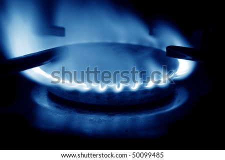 open gas flame blue tones - stock photo