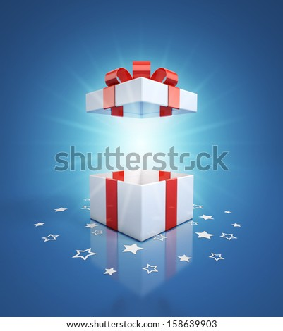 open gift box on blue background - stock photo