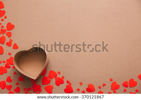 Open gift box on heart background. Copyspace. - stock photo