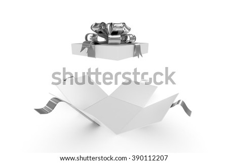 open gift box on white background - stock photo