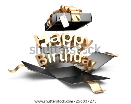 Open gift box with gold bow and ribbon. Happy birthday message on a white background - stock photo