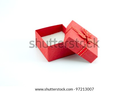 open gift box with red color on white background - stock photo