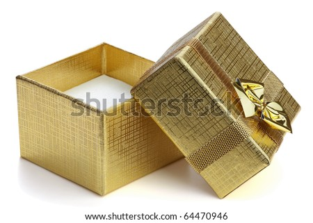 Open gift box with ribbon and bow isolated on the white background, clipping path included. - stock photo