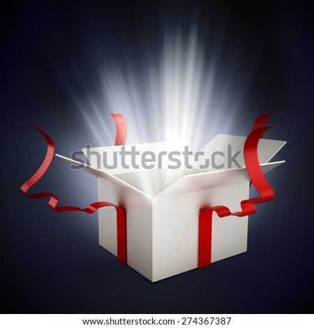 Open gift box wrapped with ribbons isolated on white background - stock photo