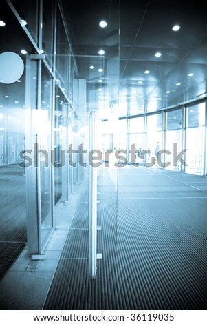 Open Glass Doors On A Sunny Day - stock photo