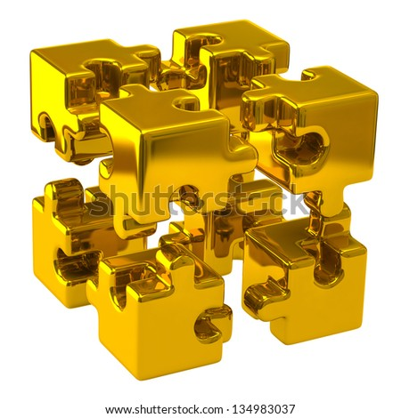Open gold puzzle cube - stock photo