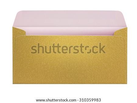 Open golden envelope. Isolated. - stock photo