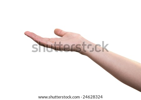Open hand. Concept of holding, begging, giving, or showing something, isolated on white background with Clipping Path - stock photo