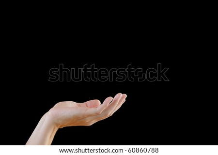 Open Hand Concept of Holding, Begging, or Giving, Isolated on Black Background - stock photo