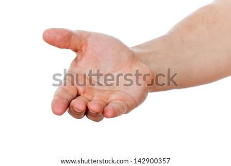 open hand of man - stock photo