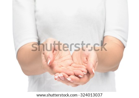 Open hands. Holding, giving, showing concept. - stock photo