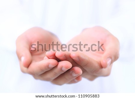 Open hands of a man - stock photo
