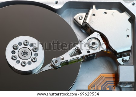 Open hard disk drive - stock photo