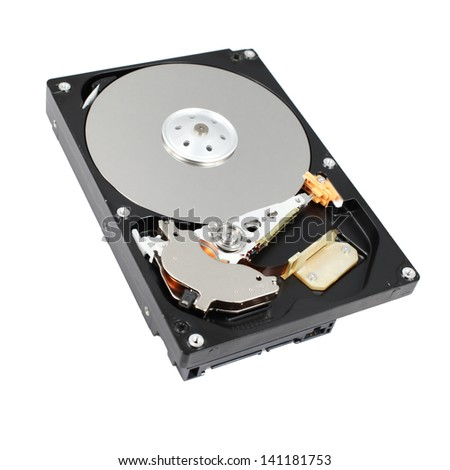 open hard drive isolated on white background - stock photo