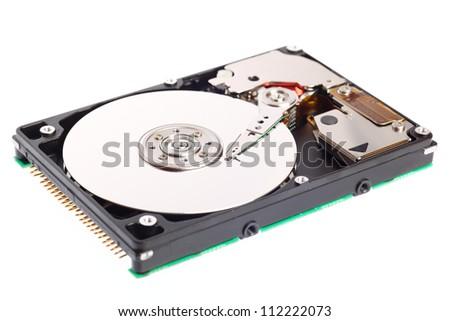 Open harddisk isolated on white background - stock photo