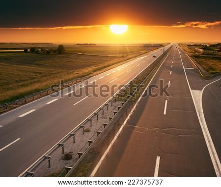 Open highway at sunset, near Belgrade in Serbia - stock photo