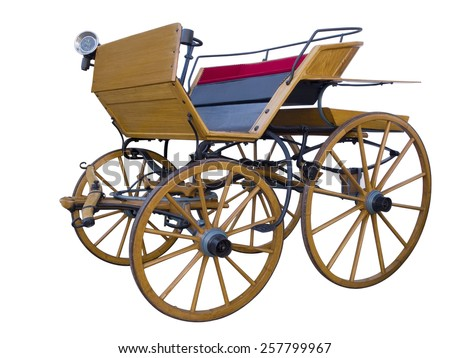 Open horse-drawn carriage middle position - stock photo