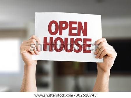 Open House card with house on background - stock photo