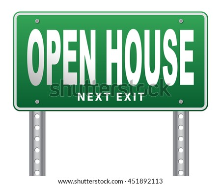 Open house or model house viewing before sale or renting a new home 3D illustration, isolated, on white - stock photo