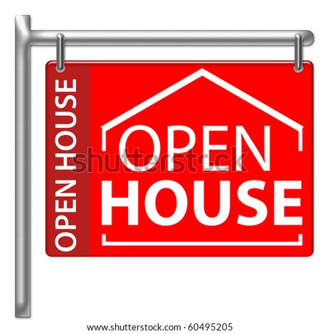 Open House Sign in red color - stock photo