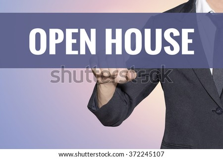 Open House word Business man touch on virtual screen soft sweet vintage background - stock photo