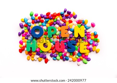 open house words in colorful stones - stock photo