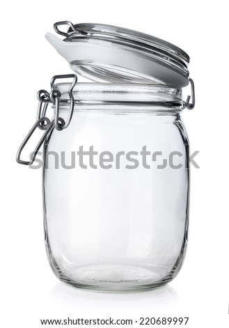 Open jar for canning isolated on white background  - stock photo