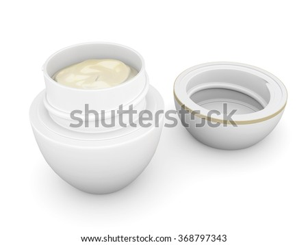 Open jar with cream isolated on white background. 3d rendering. - stock photo