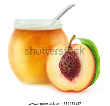 Open jar with peach jam, isolated on white with clipping path - stock photo