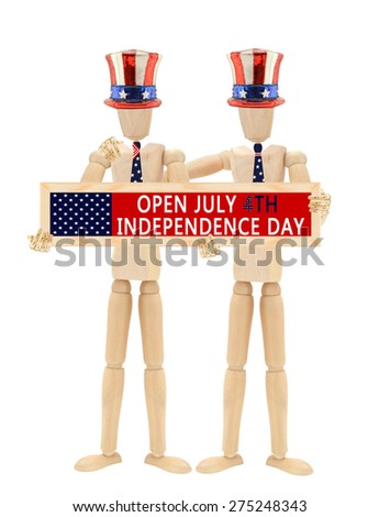 Open July 4th Independence Day sign Mannequin wearing patriotic hats and ties isolated on white background - stock photo