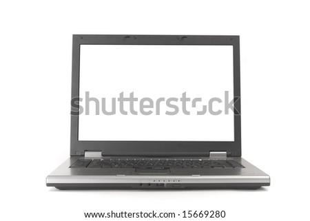 Open laptop on white ground - stock photo
