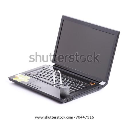 Open laptop security whit  padlock isolated - stock photo