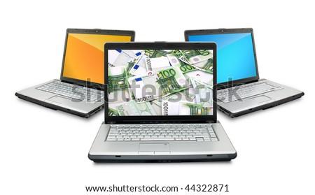 Open laptops with money  isolated on white background - stock photo