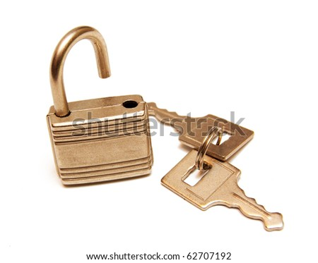open lock and keys isolated on white - stock photo