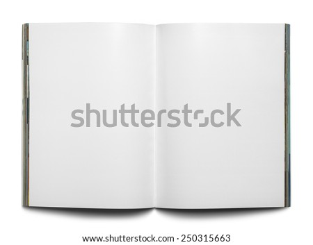 Open Magazine with Copy Space Isolated on White Background. - stock photo