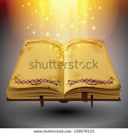 Open magic book with the light and sparkles - stock photo