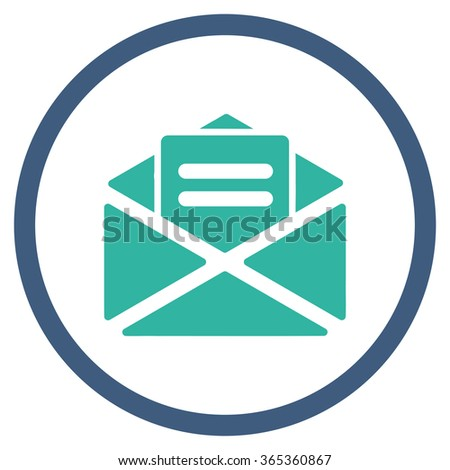 Open Mail glyph icon. Style is bicolor flat circled symbol, cobalt and cyan colors, rounded angles, white background. - stock photo