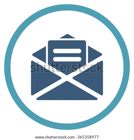 Open Mail glyph icon. Style is bicolor flat circled symbol, cyan and blue colors, rounded angles, white background. - stock photo