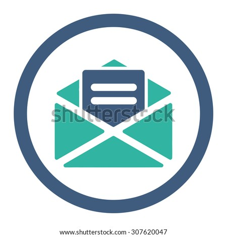 Open mail glyph icon. This rounded flat symbol is drawn with cobalt and cyan colors on a white background. - stock photo