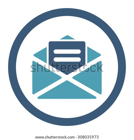 Open mail glyph icon. This rounded flat symbol is drawn with cyan and blue colors on a white background. - stock photo