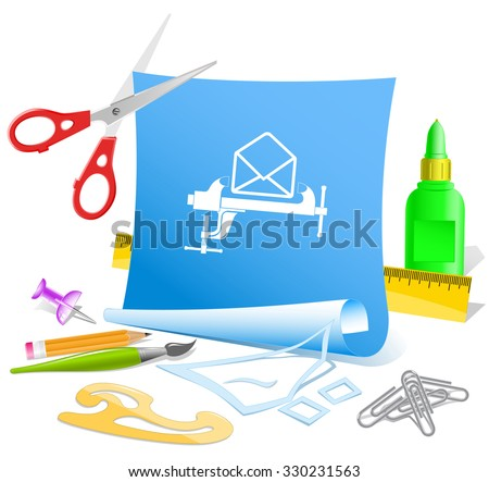 open mail with clamp. Paper template. Raster illustration. - stock photo