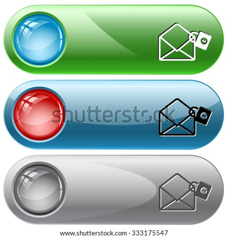 open mail with lock. Raster internet buttons. - stock photo