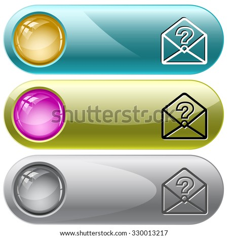 open mail with query sign. Raster internet buttons. - stock photo