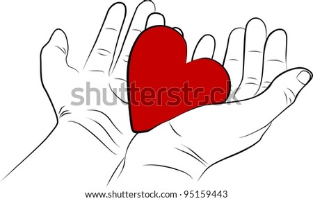 Open man hands with a red heart - freehand - stock photo