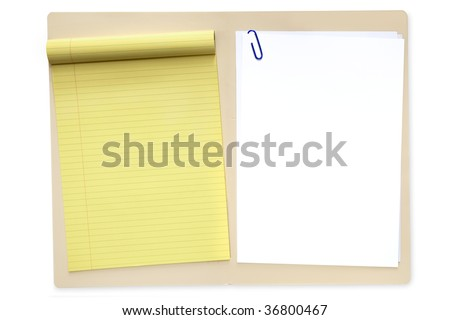 Open manila file folder, with yellow lined notepad and blank white paper. - stock photo