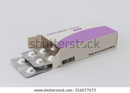 Open medicine packet labelled happiness opened at one end to display a blister pack of tablets, illustration on white  - stock photo