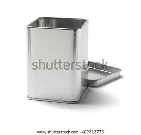 Open Metal Tin Can on White Background - stock photo